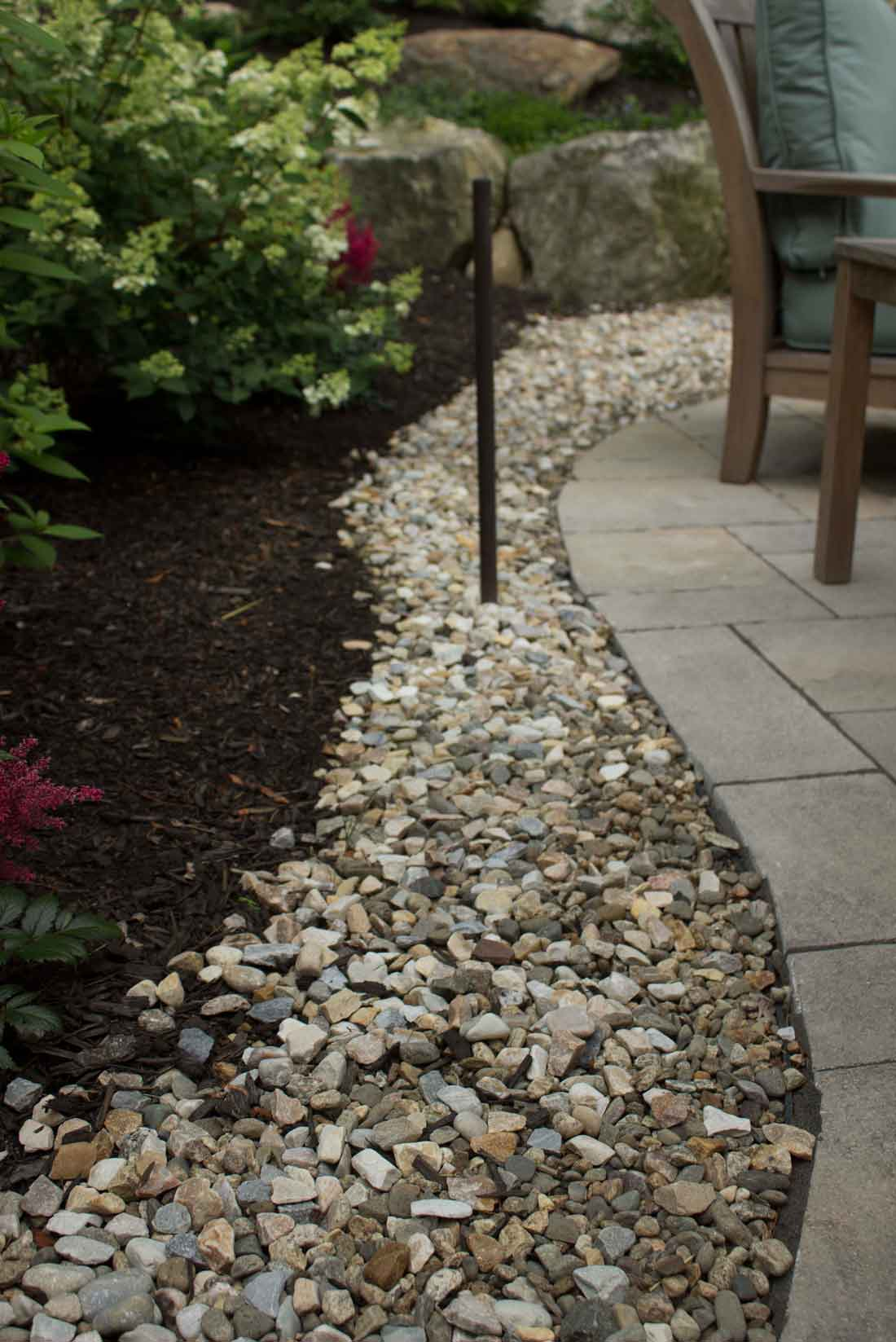 Gravel transitions between pavers and garden