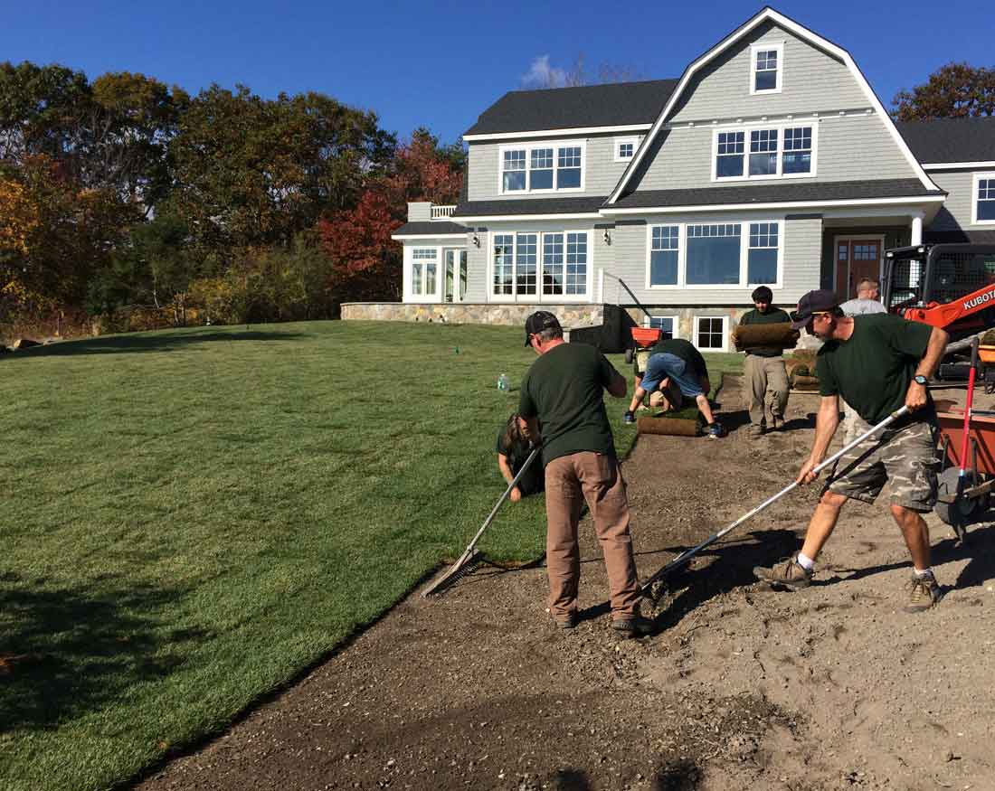 Careful site elevations were taken to achieve a gradual site grade for the lawn to meet the driveway grade.