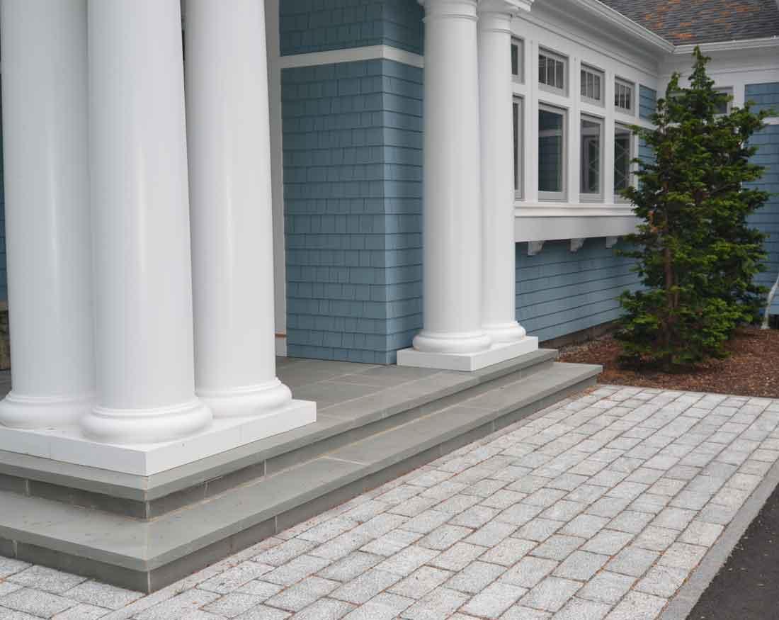 Cobblestone walkway at front entrance
