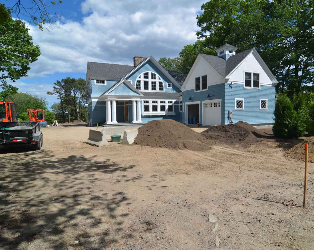 Front of house during construction