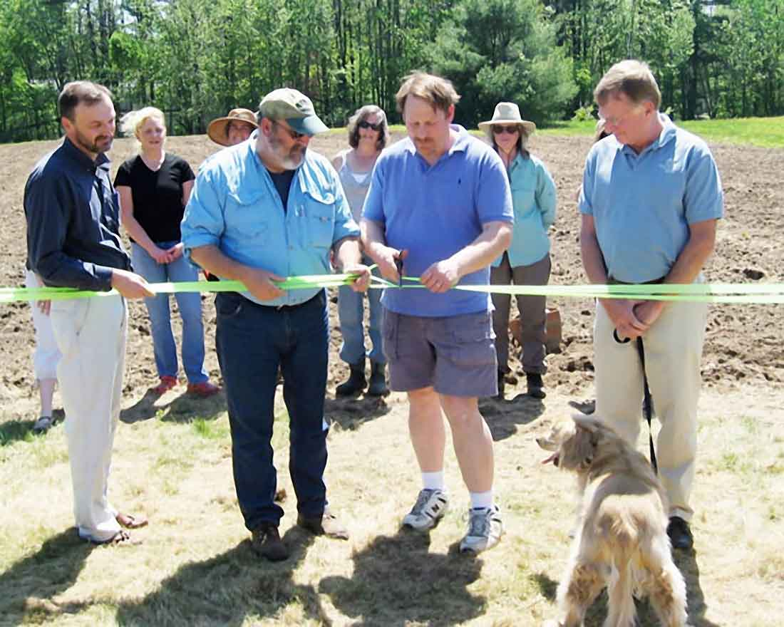 Carol Laboissonniere at the ribbon cutting for the opening of the Kennebunk Community Gardens