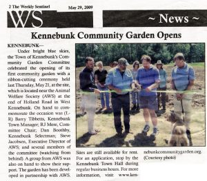 Weekly Sentinel article on the opening of the Kennebunk Community Gardens created by CL Design and Landscape