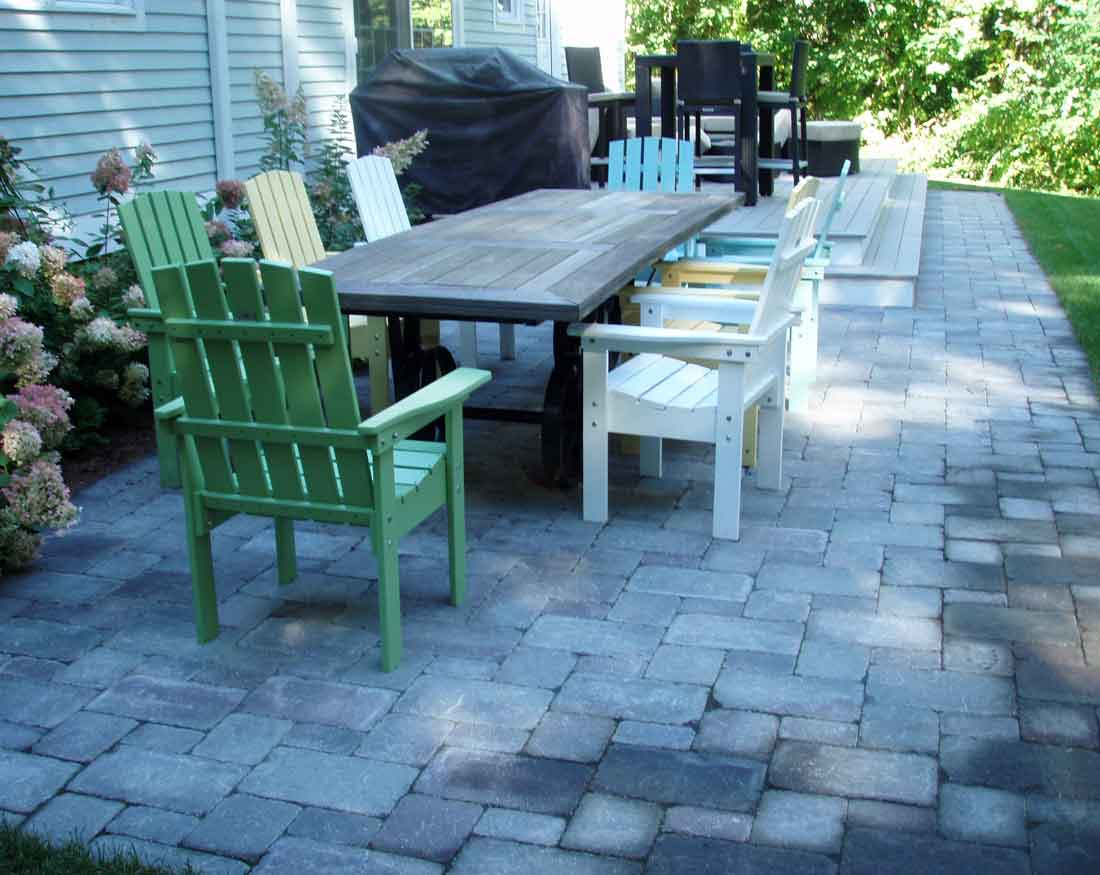 The newly installed patio extends along the front of the deck.
