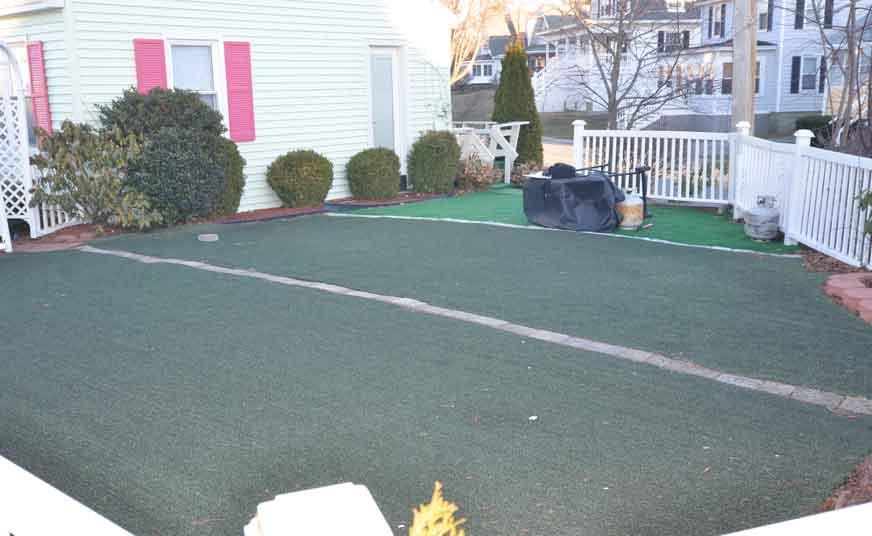 The patio area was artificial carpet