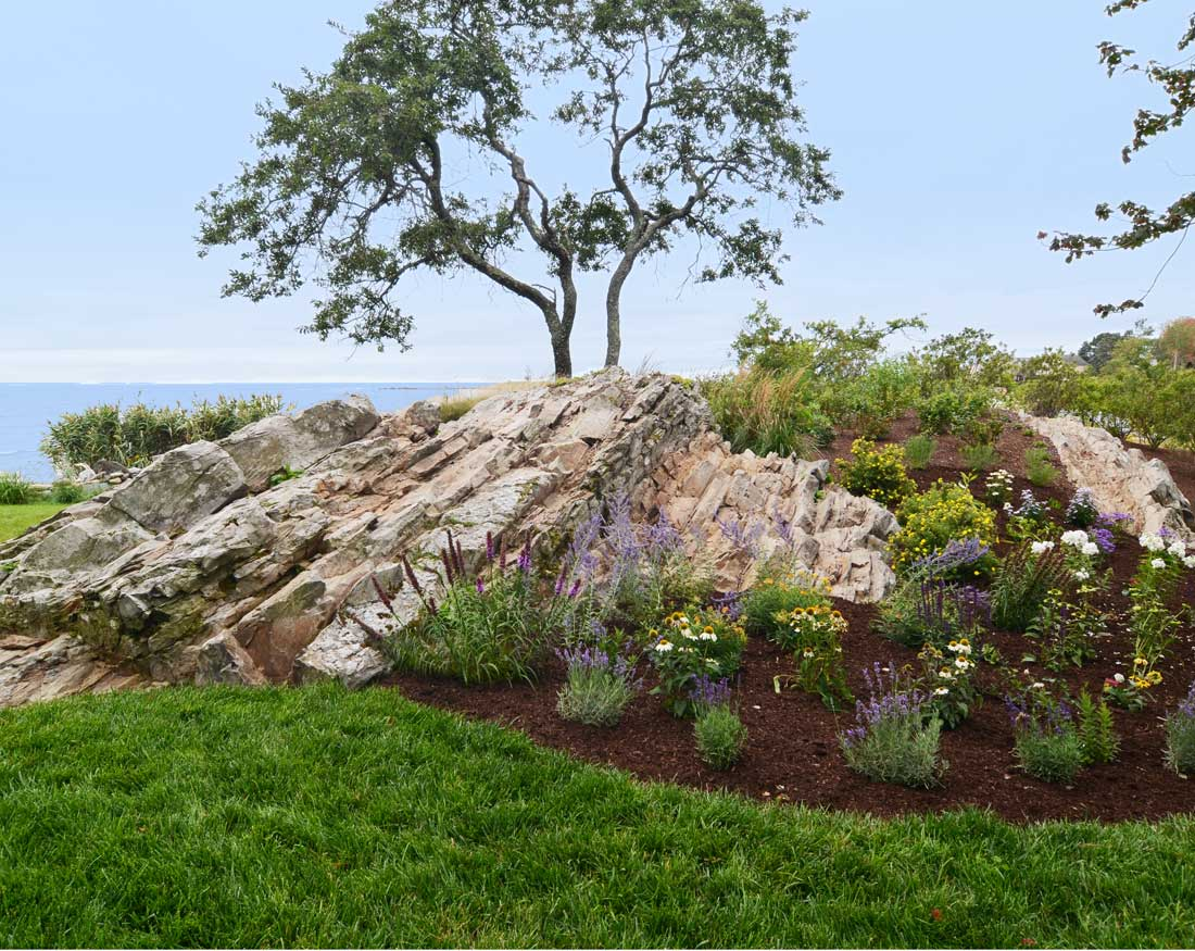 Landscaping with natural rock ledge