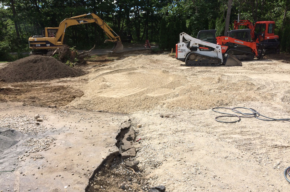 Existing driveway is removed