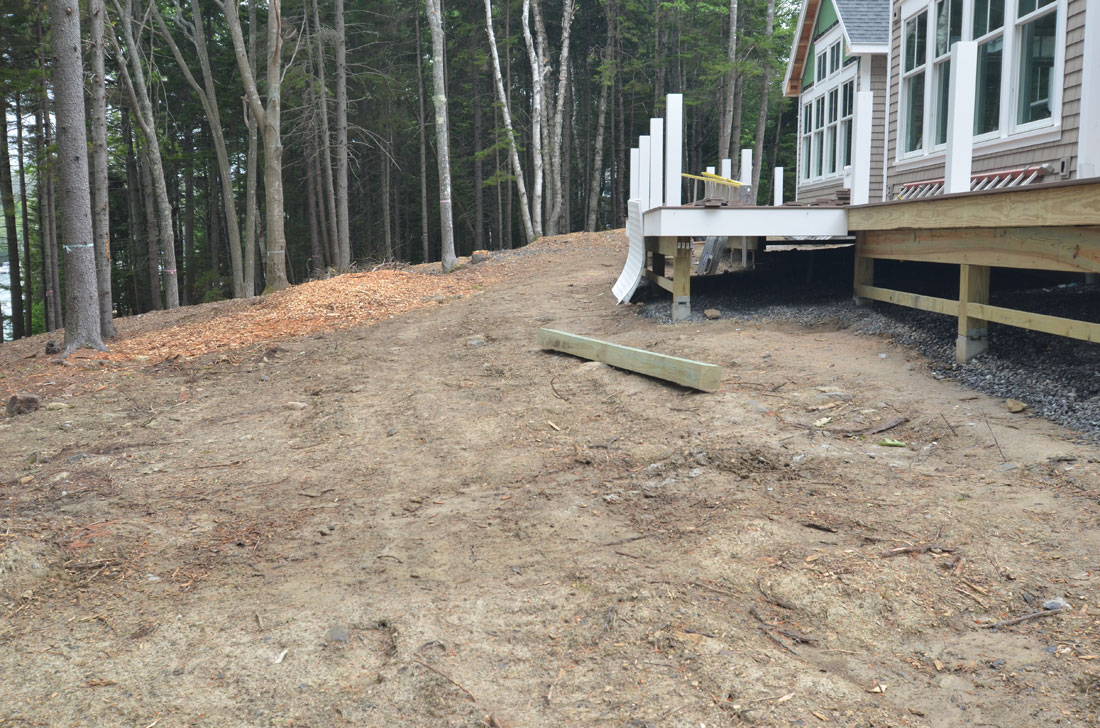 The rear of the property is cleared