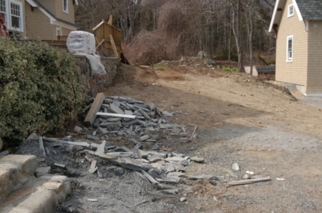 Extensive cleaning of landscape from construction debris
