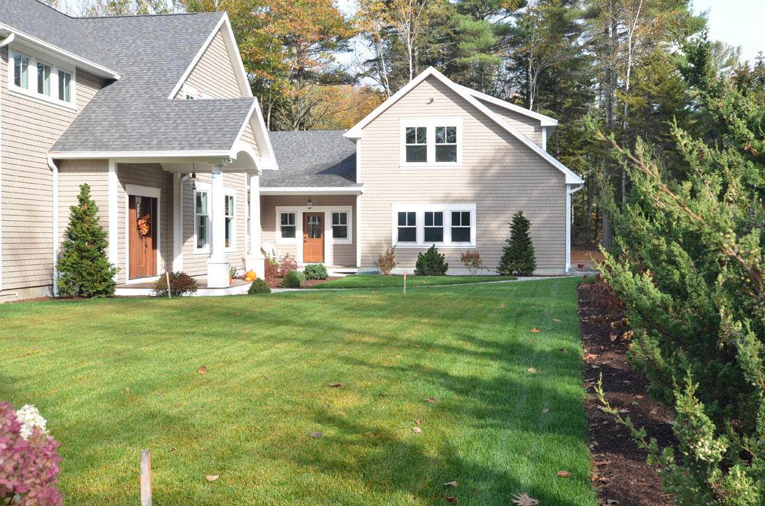 Graded lawn area