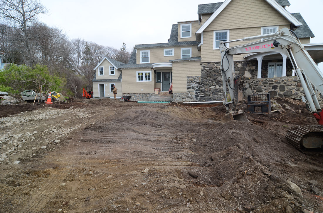 The land is prepared for the driveway