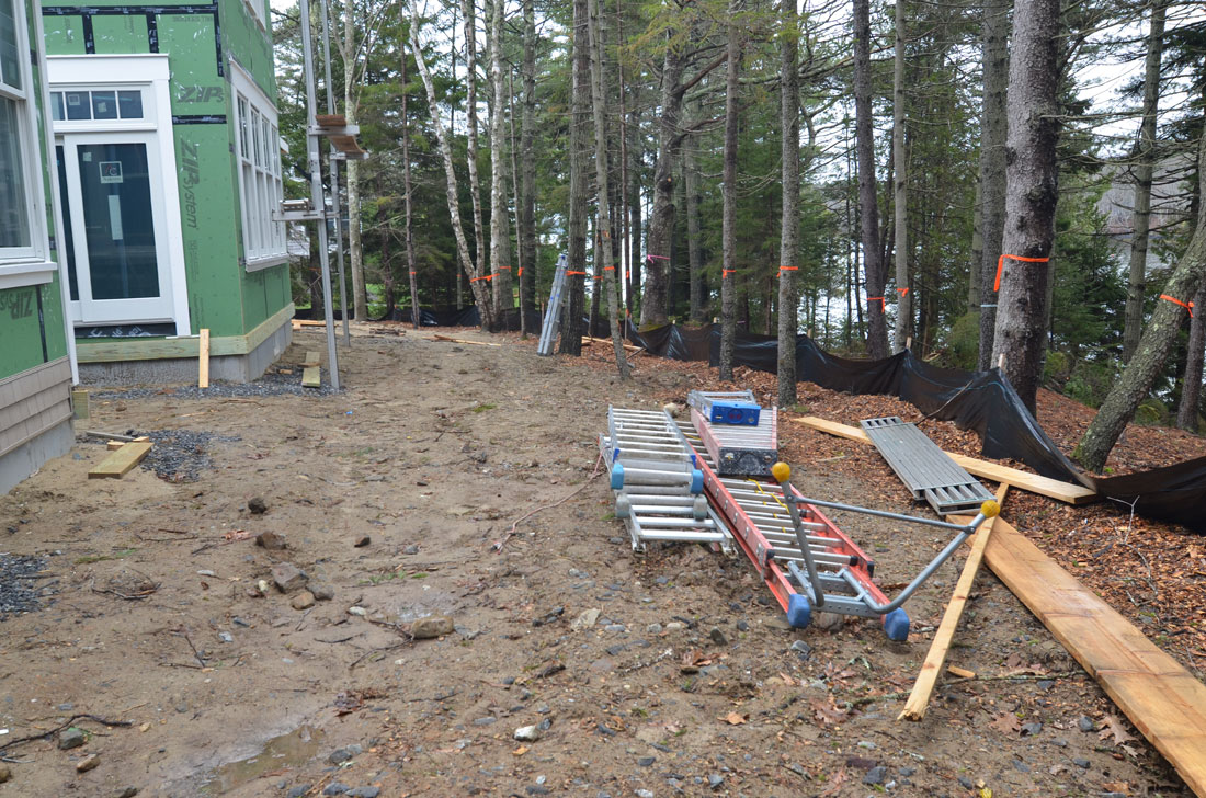 The rear of the property is graded