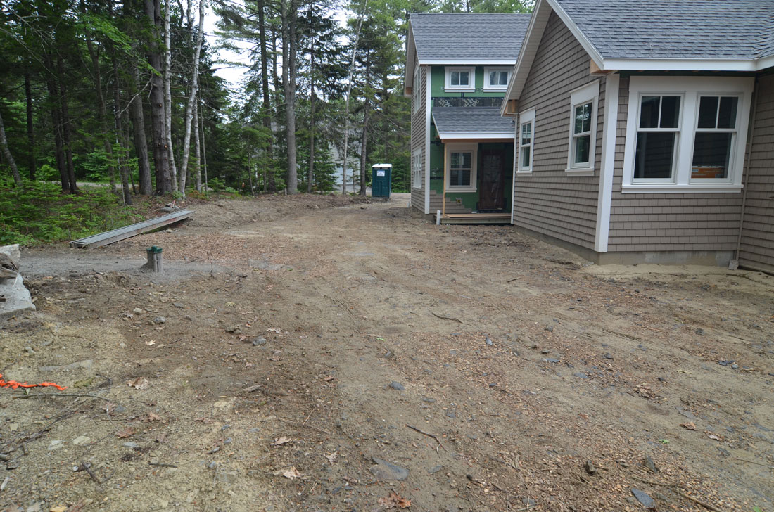 The side of the property is graded