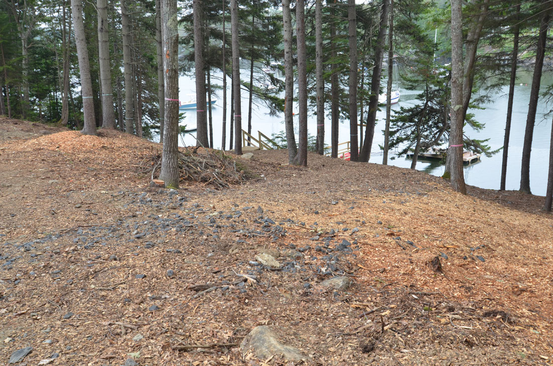 The steep slope in the rear of the property makes access to the waterfront difficult