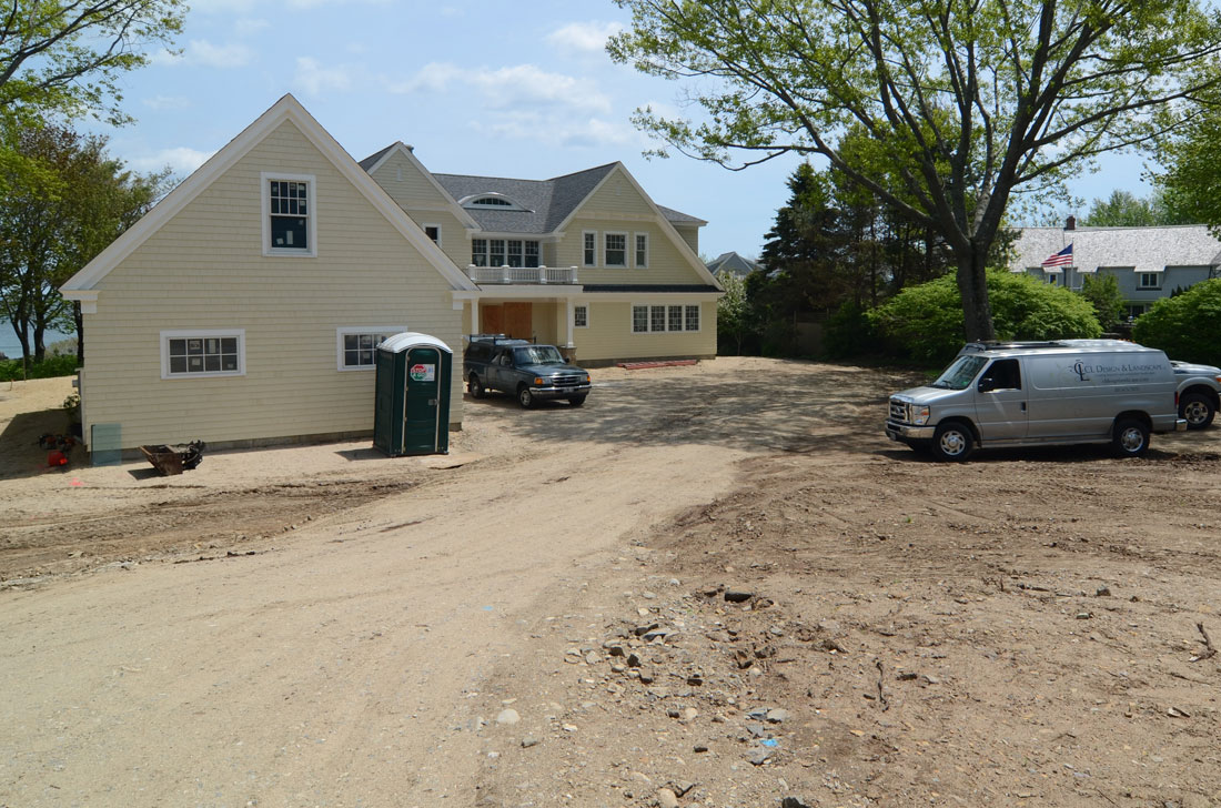 Driveway and grade is raised